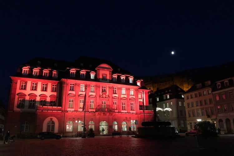 Das Heidelberger Rathaus setzte ein Zeichen. Bild: A. Köster, ZC Heidelberg